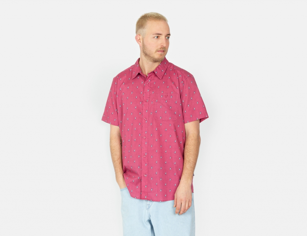 Patagonia Go To S/S Shirt - Blue Prints Micro / Star Pink