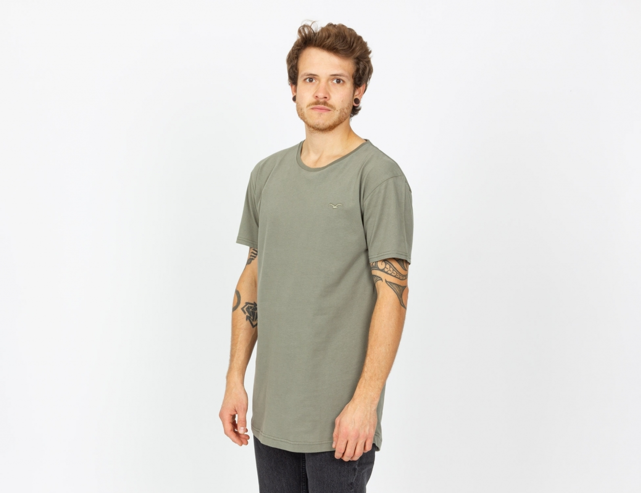 Cleptomanicx Ligull Long 2 T-Shirt - Dusty Olive
