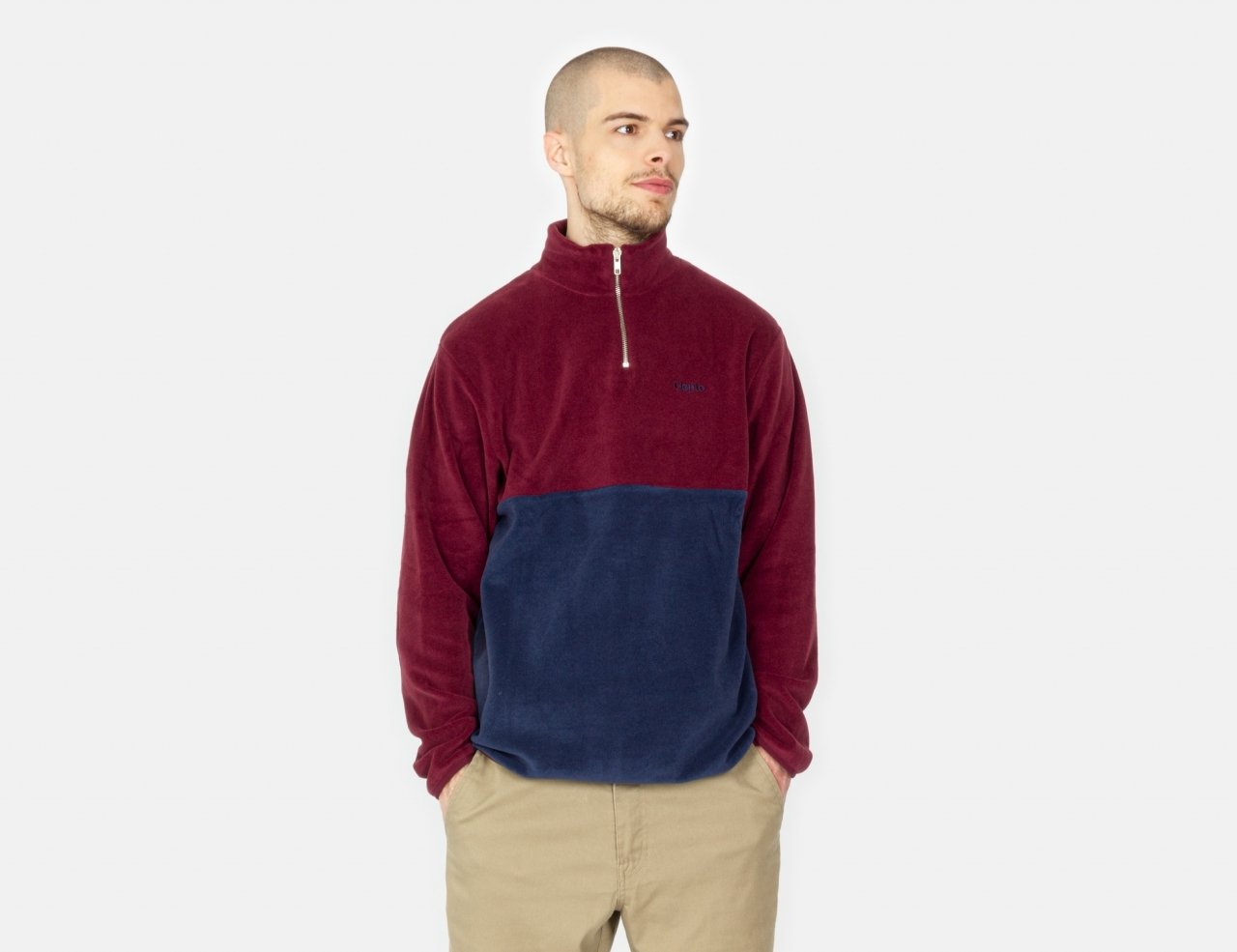 Cleptomanicx Softer Double Half Zip - Port Royale