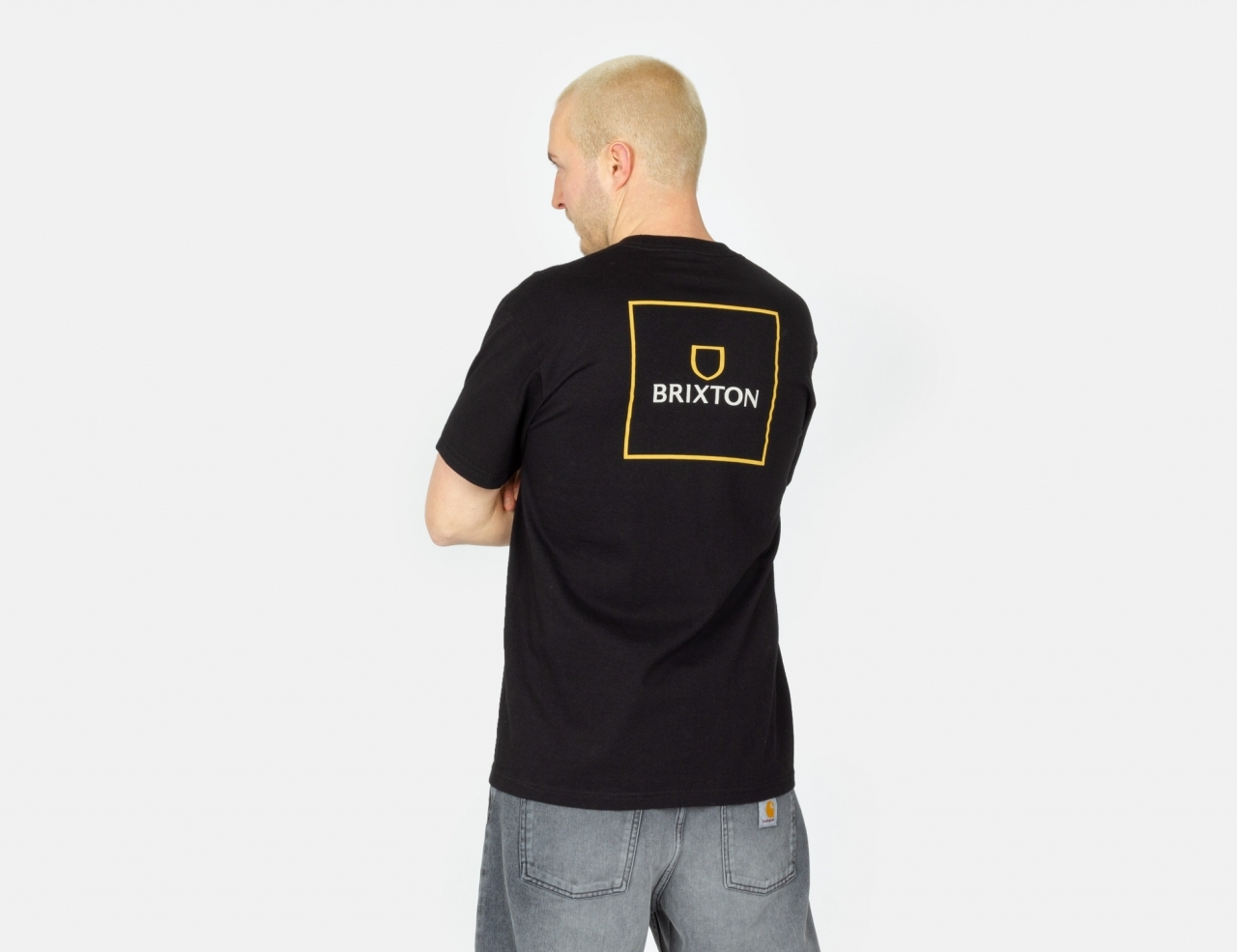 Brixton Alpha Square T-Shirt - Black / Lemon Curry