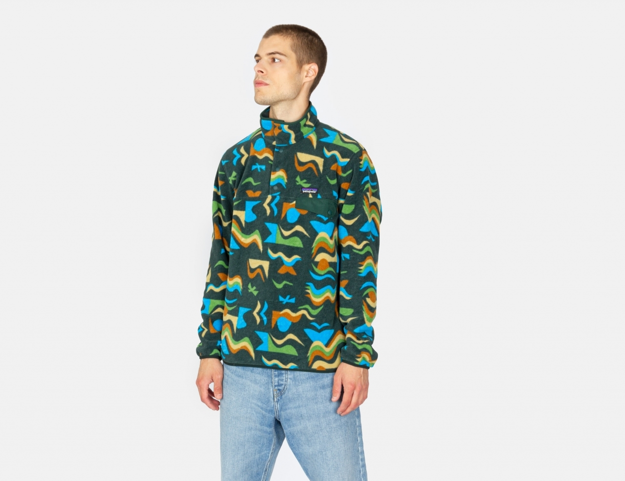 Patagonia Lightweight Synch Snap-T Pullover - Arctic Collage: Northern Green