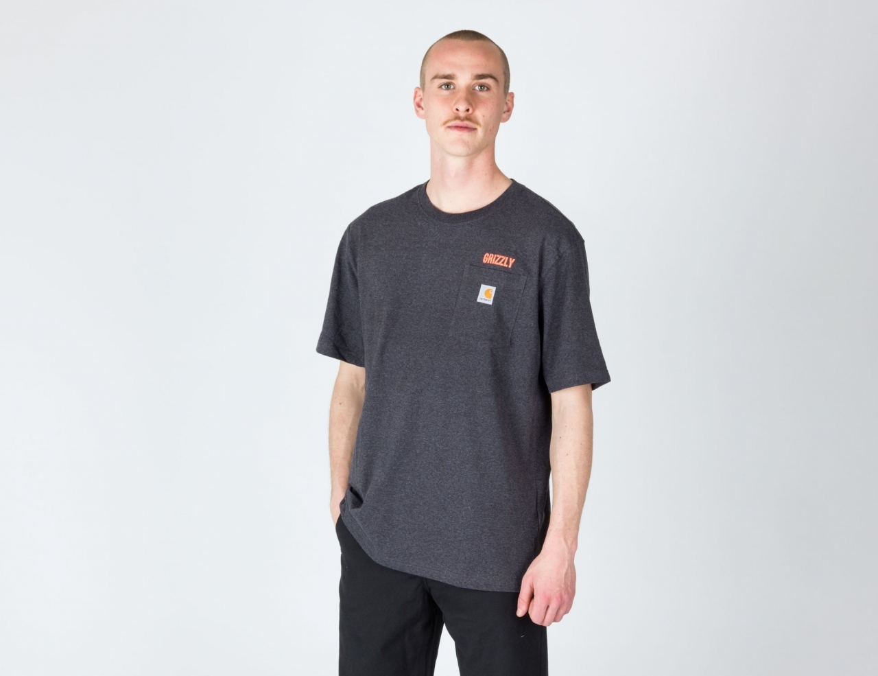 Grizzly x Carhartt WIP Stamp Work Pocket T-Shirt-charcoal heather