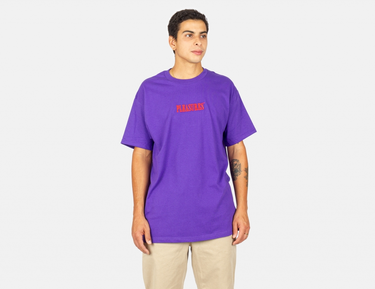 Pleasures Now Core Embroidered T-Shirt - Purple