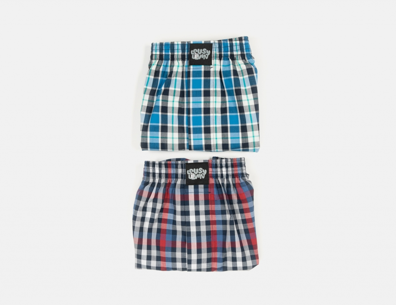Lousy Livin Lousy Two Pack Boxer Shorts - Squared Blue
