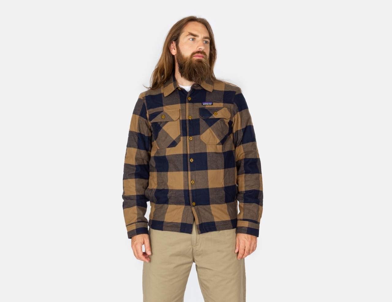 Patagonia Insulated MW Fjord Flannel Shirt - Mountain Plaid: Timber Brown