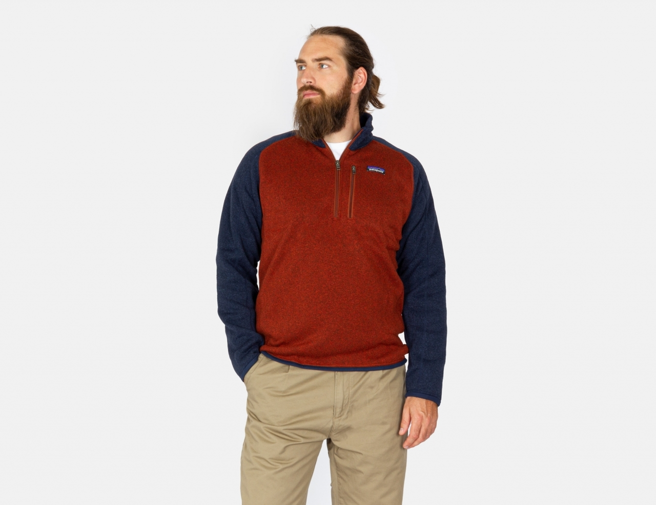 Patagonia Better Sweater 1/4 Zip - Barn Red / New Navy