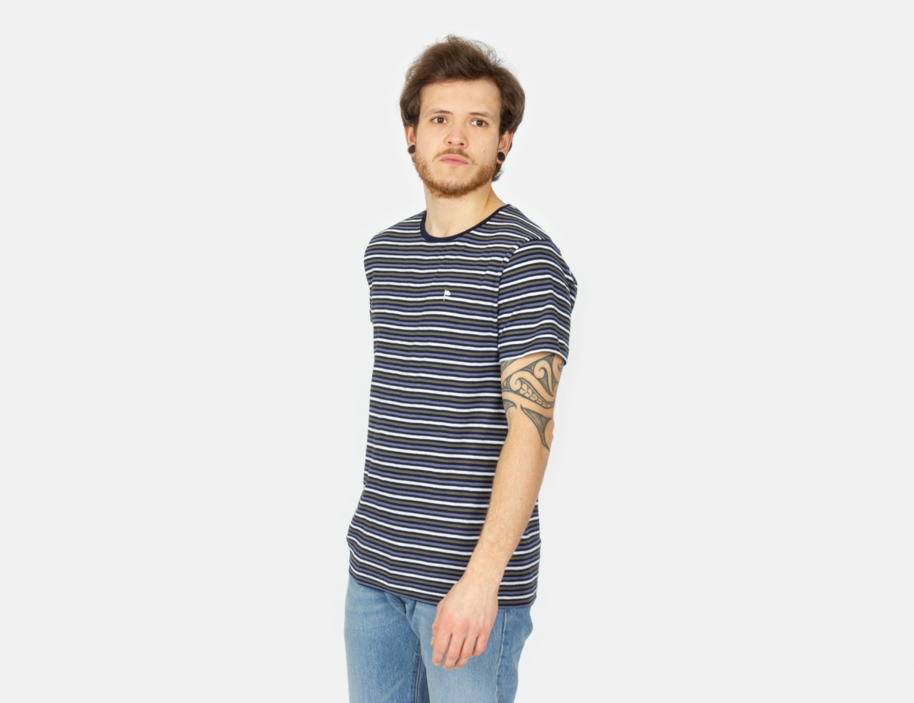 Wemoto Cope Stripe T-Shirt - Navy Blue