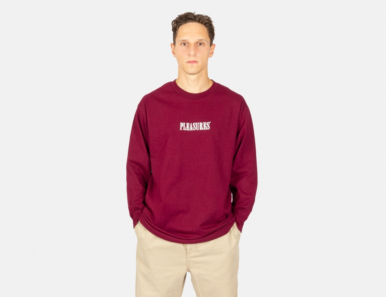 Pleasures Now Core Embroidered Longsleeve- Burgundy