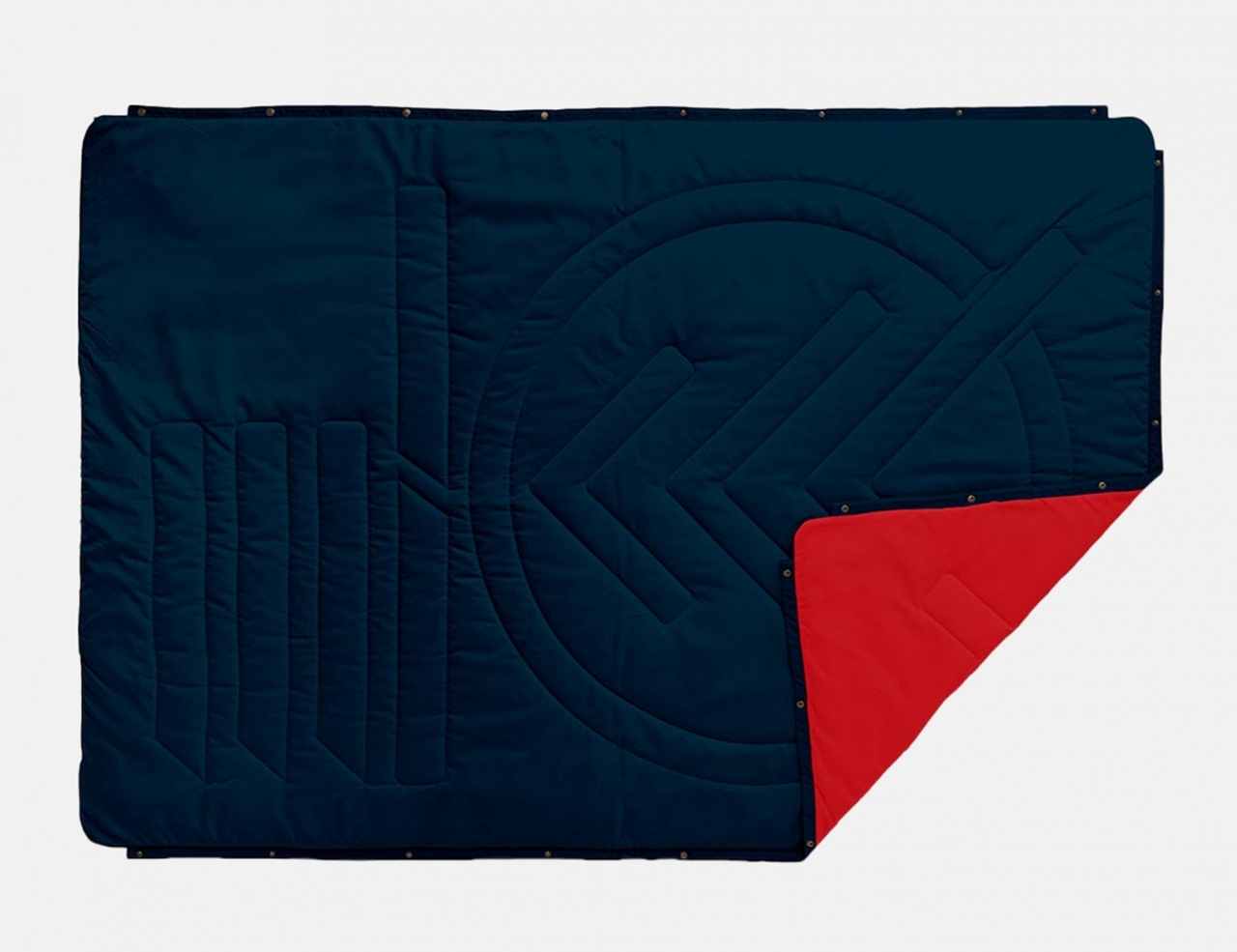 Voited Pillow Blanket - Ocean Navy / Sunset Red