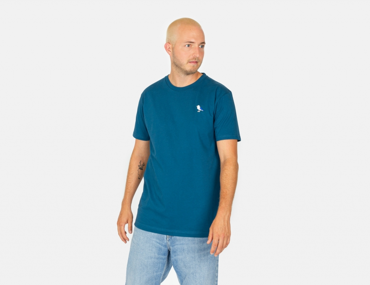 Cleptomanicx Embro Gull T-Shirt - Blue Coral