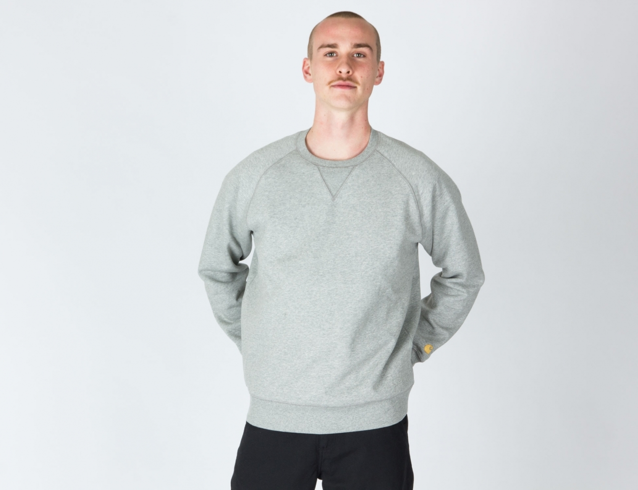 Carhartt WIP Chase Crew Neck - Grey Heather / Gold