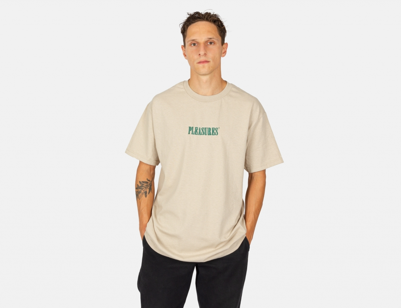 Pleasures Now Core Embroidered T-Shirt - Sand