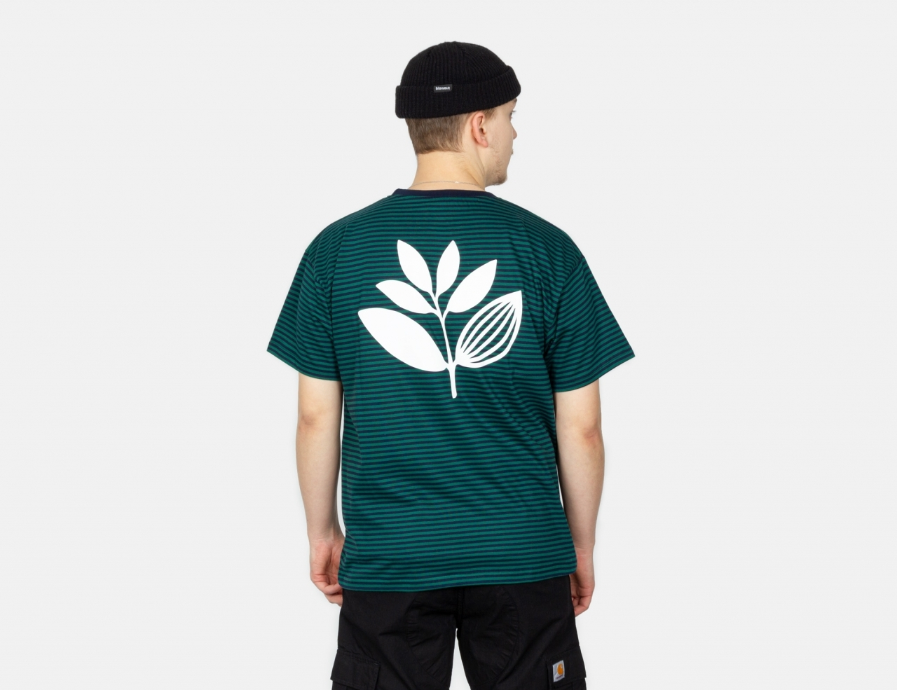 Magenta Striped Plant T-Shirt - Navy Green / Green