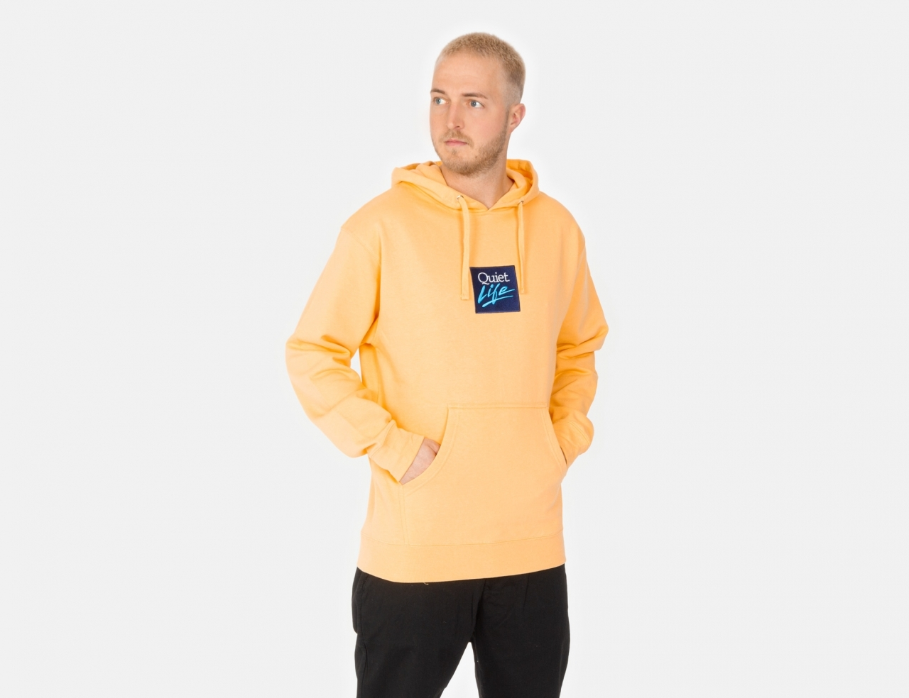The Quiet Life Miami Logo Embroidered Hoodie - peach
